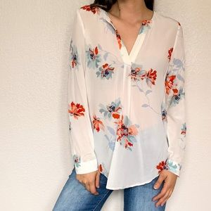Joie Floral White Red Silk Long Sleeve Button Down